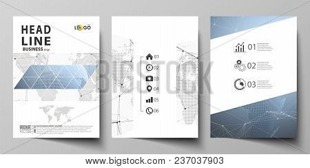 The Vector Illustration Of The Editable Layout Of Three A4 Format Modern Covers Design Templates For