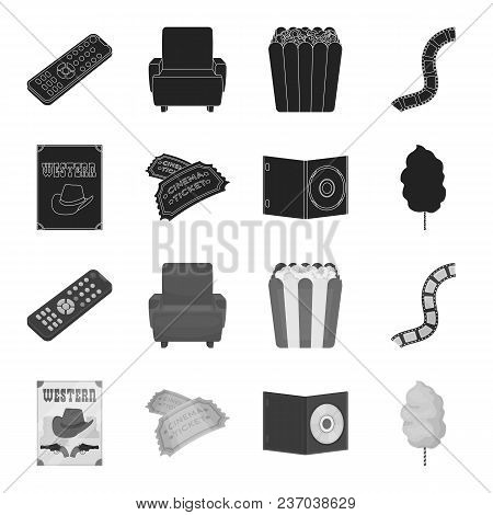 Western Cinema, Tickets, Sweet Cotton Wool, Film On Dvd.filmy And Cinema Set Collection Icons In Bla