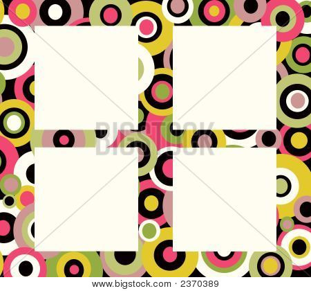 Retro Colorful Circles Background With Frames
