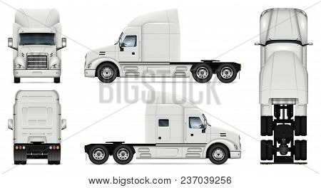 Truck Vector Mock-up. Isolated Template Of Lorry On White Background. Vehicle Branding Mockup. Side,