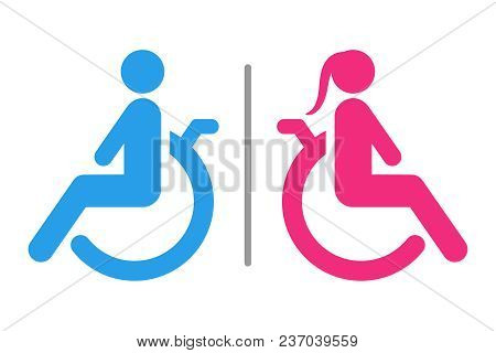 Separated Wc For Disabled Persons Sign. Handicapped Accessible Male And Female Restroom. Vector Icon