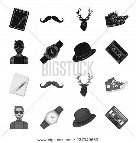Hipster, Fashion, Style, Subculture .hipster Style Set Collection Icons In Black, Monochrome Style V