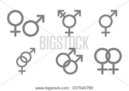 Gender Glyphs. Male, Female, Heterosexual, Bisexual, Homosexual, Gay, Lesbian, Hermaphrodite, Transg