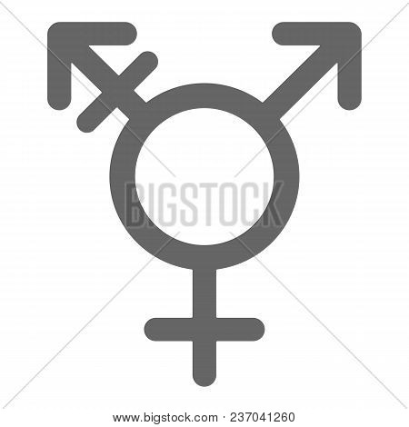 Hermaphrodite glyph. Transgender and transsexual symbol. Male with strake and male and female sign. Vector icon. poster