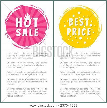 Hot Burning Sale Best Price Set Of Round Labels With Brush Strokes On Posters With Text Vector Illus