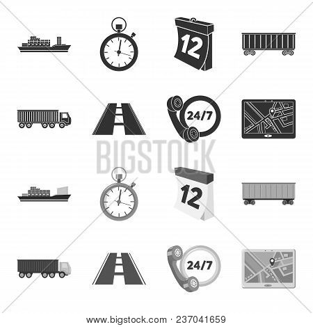 Round The Clock, Road, Truck, Jps.loqistic, Set Collection Icons In Black, Monochrome Style Vector S