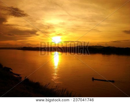 Sunset At Chiang Khan On The Mekong River