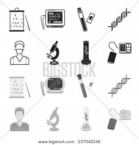 Plant In Vitro, Nurse, Microscope, Tonometer. Medicine Set Collection Icons In Black, Monochrome Sty