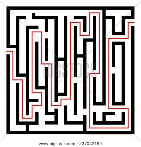Labyrinth Black Icon With Red Entry And Exit.isolated On A White Background.vector