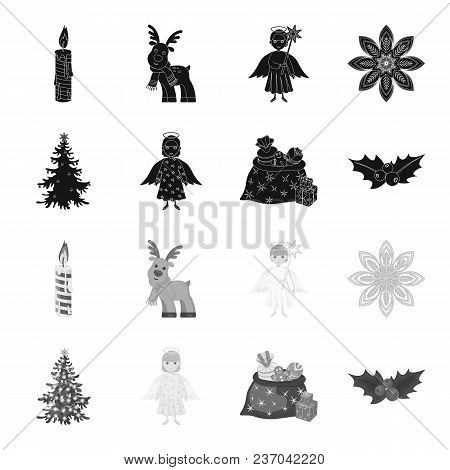 Christmas Tree, Angel, Gifts And Holly Black, Monochrome Icons In Set Collection For Design. Christm
