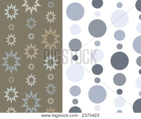 Retro Blue And Brown Circles And Stars Collage
