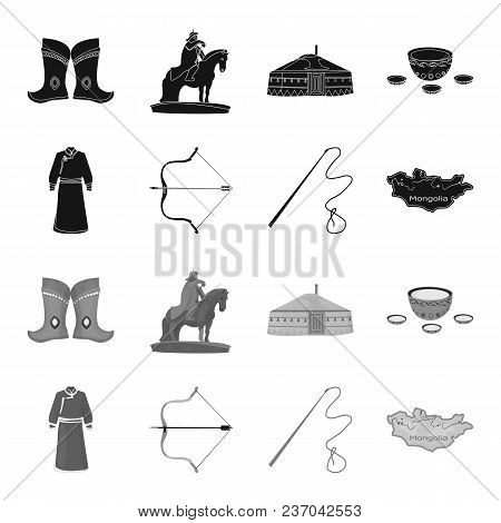 .mongol Dressing Gown, Battle Bow, Theria On The Map, Urga, Khlyst. Mongolia Set Collection Icons In