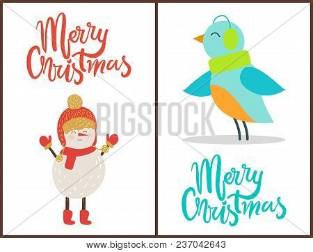 Merry Christmas, Banners With Decorated Titles, Images Of Snowman Wearing Hat And Scarf With Gloves