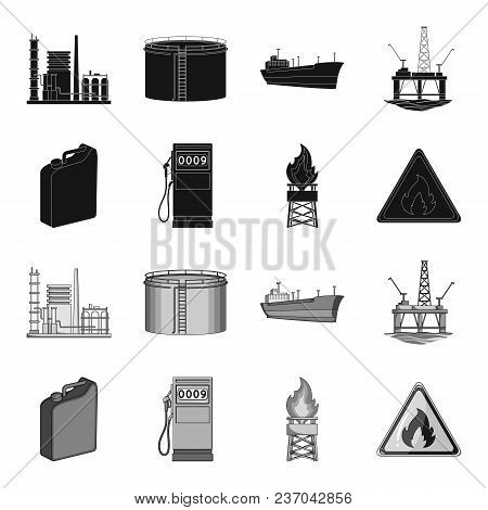 Canister For Gasoline, Gas Station, Tower, Warning Sign. Oil Set Collection Icons In Black, Monochro