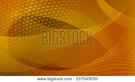 Abstract Background Of Curved Lines, Curves And Halftone Dots In Yellow And Orange Colors