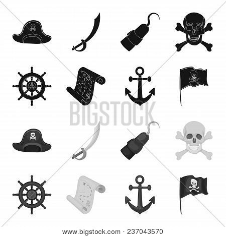 Pirate, Bandit, Rudder, Flag .pirates Set Collection Icons In Black, Monochrome Style Vector Symbol