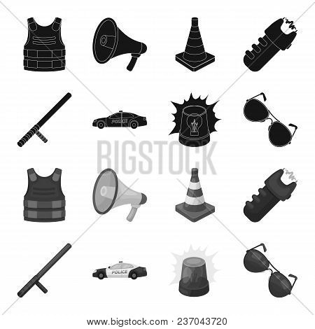 Police Baton, Auto, Flasher, Glasses.police Set Collection Icons In Black, Monochrome Style Vector S