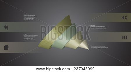 3d Illustration Infographic Template With Motif Of Sliced Cone To Five Color Parts Which Are Shifted