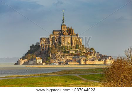 View Of The Abbey Mont-saint-michel In The Early Morning. France. Normandy.
