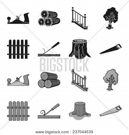Fence, Chisel, Stump, Hacksaw For Wood. Lumber And Timber Set Collection Icons In Black, Monochrome