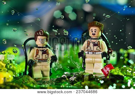 Magnitogorsk, Russia - April 10, 2018: Figurines Of The Ghostbusters Egon Spengler And Peter Venkman