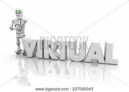 Virtual Robot Science Technology Word 3d Illustration