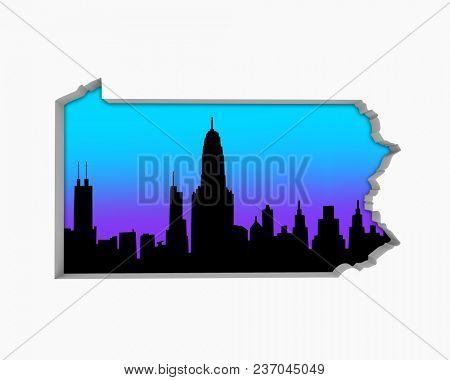 Pennsylvania PA Skyline City Metropolitan Area Nightlife 3d Illustration