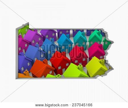 Pennsylvania PA Homes Homes Map New Real Estate Development 3d Illustration