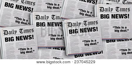 Big News Headlines Newspaper Announcement Background 3d Illustration