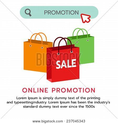 Design Of Flat Shopping Bag Promotion Banner .shopping Online Banner Or Website. Vector Illustration