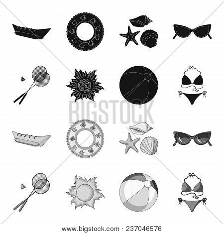 A Game Of Badminton, A Ball And The Sun.summer Vacation Set Collection Icons In Black, Monochrome St