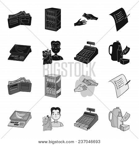 Package, Scales, Banana, Fruit .supermarket Set Collection Icons In Black, Monochrome Style Vector S