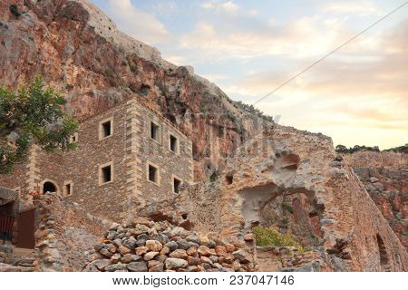 Ruins of old city of Monemvasia in Greece