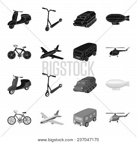 Bicycle, Airplane, Bus, Helicopter Types Of Transport. Transport Set Collection Icons In Black, Mono