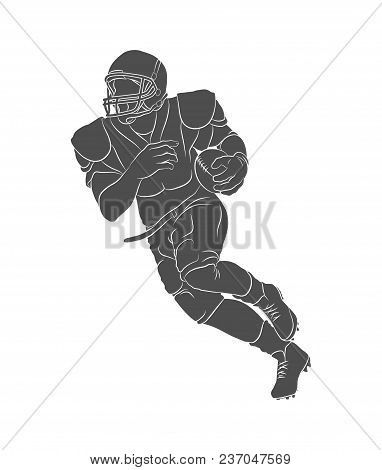 Silhouette American Football Player On A White Background. Photo Illustration