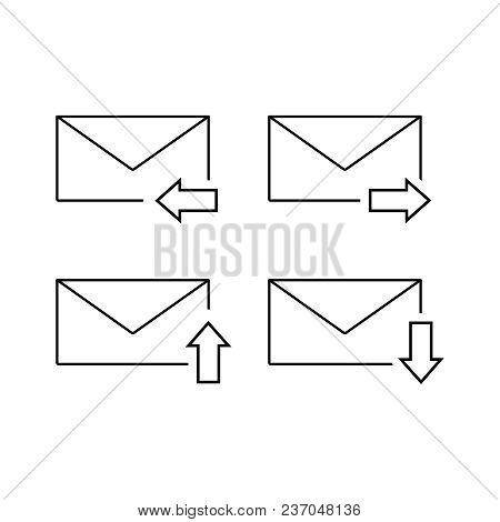 Set Of Envelopes Email Icon On The White Background