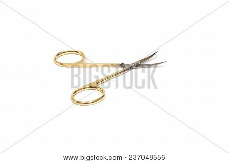 Yellow Manicure Scissors On White Background, Beauty And Nail Care