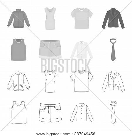 Shirt With Long Sleeves, Shorts, T-shirt, Tie.clothing Set Collection Icons In Outline, Monochrome S