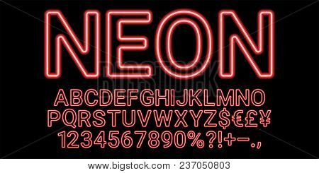 Neon Font In Red Color. Vector Collection Of Latin Neon Letters, Neon Alphabet Consisting Of Outline