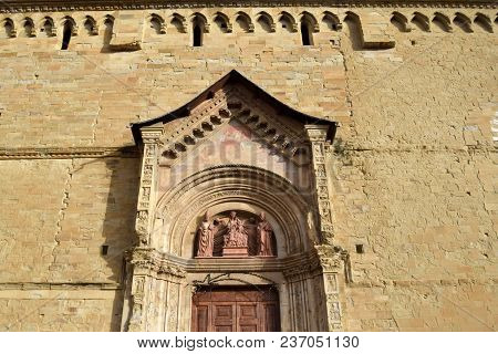 Detail Of The Portal Of The Cathedral Of Saints Peter And Donato In Arezzo - Tuscany - Italy