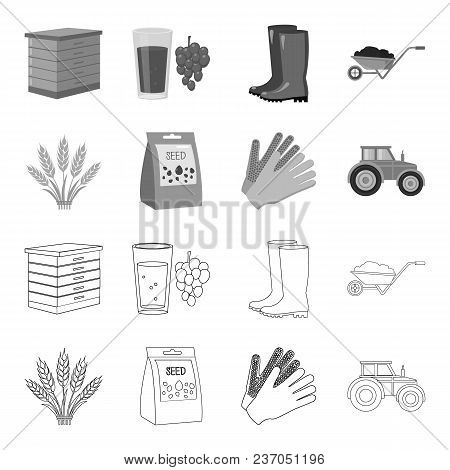 Spikelets Of Wheat, A Packet Of Seeds, A Tractor, Gloves.farm Set Collection Icons In Outline, Monoc