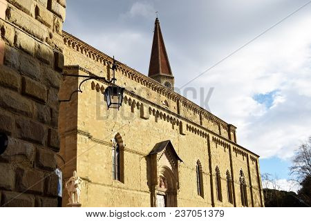 The Side Wall Of The Cathedral Of Saints Peter And Donato In Arezzo - Tuscany - Italy