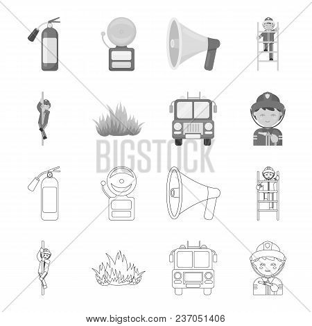Fireman, Flame, Fire Truck. Fire Departmentset Set Collection Icons In Outline, Monochrome Style Vec