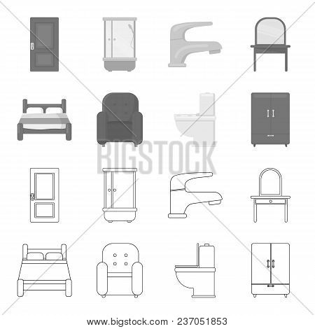 A Bed, An Armchair, A Toilet, A Wardrobe.furniturefurniture Set Collection Icons In Outline, Monochr