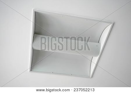 Square Ceiling Lamp Of Day Light Isolated On White Background.