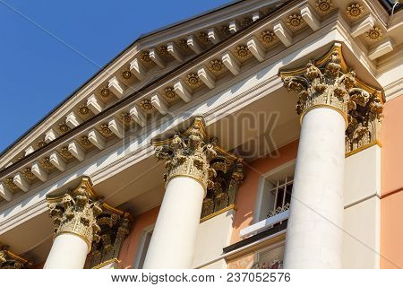 Moscow, Russia - April 15, 2018: Columns Of The Church Of St. Barbara The Great Martyr On Varvarka S