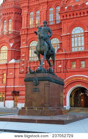 Moscow, Russia - April 15, 2018: Monument To Marshal Georgy Zhukov On Manege Square In Moscow