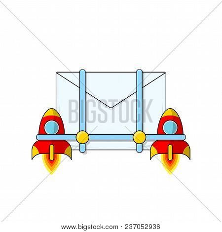 Envelope With Rockets. Newsletter. E-mail. The Process Of Mail Sending. Vector Illustration