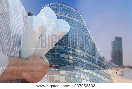 Collage With Engineer Holding Construction Plans Against Urban Background