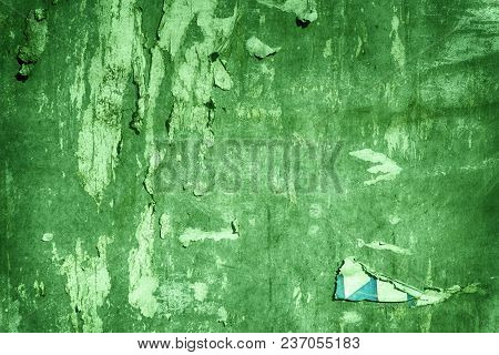 Ultra Green Torn Poster After Vote On Tin Textured Wall Ripped Newspaper